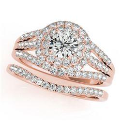 1.41 ctw Certified VS/SI Diamond 2pc Wedding Set Halo 14k Rose Gold - REF-118G2W