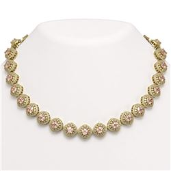 68.97 ctw Morganite & Diamond Victorian Necklace 14K Yellow Gold - REF-2349F8M