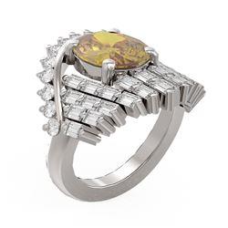 9.48 ctw Canary Citrine & Diamond Ring 18K White Gold - REF-437K3Y