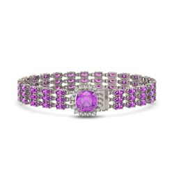 24.75 ctw Amethyst & Diamond Bracelet 14K White Gold - REF-281G8W