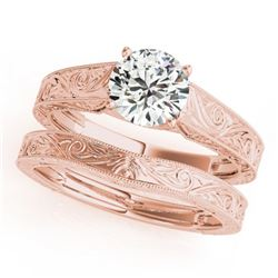 1 ctw Certified VS/SI Diamond Solitaire 2pc Wedding Set 14k Rose Gold - REF-273A2N