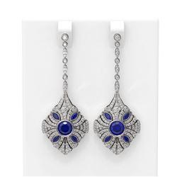 4.19 ctw Sapphire & Diamond Earrings 18K White Gold - REF-307Y6X