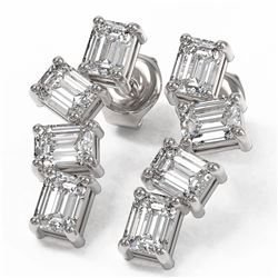 4 ctw Emerald Cut Diamond Earrings 18K White Gold - REF-839M3G