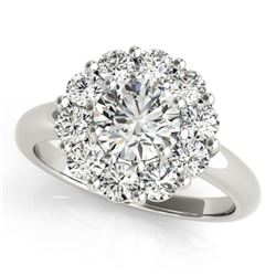 1.38 ctw Certified VS/SI Diamond Halo Ring 18k White Gold - REF-169A6N