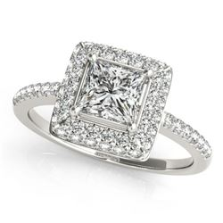 1.5 ctw Certified VS/SI Princess Diamond Halo Ring 18k White Gold - REF-286X4A