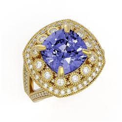 6.72 ctw Certified Tanzanite & Diamond Victorian Ring 14K Yellow Gold - REF-228M8G