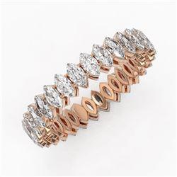3.9 ctw Marquise Cut Diamond Eternity Ring 18K Rose Gold - REF-394W5H