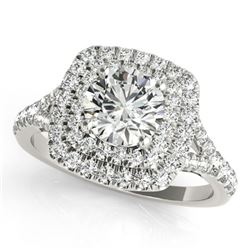 1.04 ctw Certified VS/SI Diamond Solitaire Halo Ring 18k White Gold - REF-101X2A