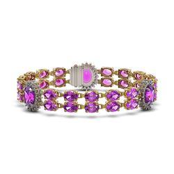 28.03 ctw Amethyst & Diamond Bracelet 14K Yellow Gold - REF-225Y2X