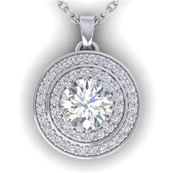 0.9 ctw Certified VS/SI Diamond Art Deco Halo Necklace 14k White Gold - REF-116R4K