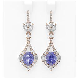 10.73 ctw Tanzanite & Diamond Earrings 18K Rose Gold - REF-490W9H