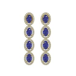 6.47 ctw Sapphire & Diamond Micro Pave Halo Earrings 10k Yellow Gold - REF-143A6N