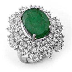 11.65 ctw Emerald & Diamond Ring 18k White Gold - REF-441X6A