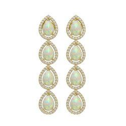 6.2 ctw Opal & Diamond Micro Pave Halo Earrings 10k Yellow Gold - REF-148A9N