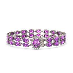 24.82 ctw Amethyst & Diamond Bracelet 14K White Gold - REF-218W2H