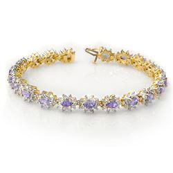 10.0 ctw Tanzanite & Diamond Bracelet 14k Yellow Gold - REF-345W5H
