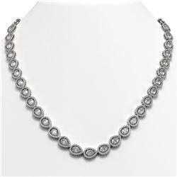 33.08 ctw Pear Cut Diamond Micro Pave Necklace 18K White Gold - REF-4602F8M
