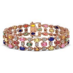 25.07 ctw Multi Color Sapphire & Diamond Bracelet 10K Rose Gold - REF-340R2K