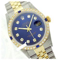 Rolex Men's Two Tone 14K Gold/SS, QuickSet, Diam Dial & Diam/Sapphire Bezel - REF-557T4K