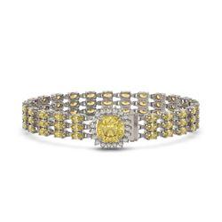 25.15 ctw Citrine & Diamond Bracelet 14K White Gold - REF-281H8R