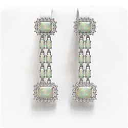 8.26 ctw Opal & Diamond Earrings 14K White Gold - REF-204K4Y