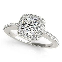 1.01 ctw Certified VS/SI Diamond Halo Ring 18k White Gold - REF-135H2R