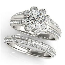 1.86 ctw Certified VS/SI Diamond 2pc Wedding Set Halo 14k White Gold - REF-313M8G