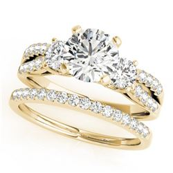 1.46 ctw VS/SI Diamond 3 Stone 2pc Wedding Set 14k Yellow Gold - REF-168A3N
