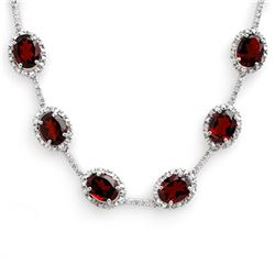 41.0 ctw Garnet & Diamond Necklace 10k White Gold - REF-194Y5X