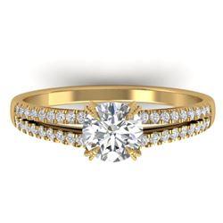 1.11 ctw Certified VS/SI Diamond Art Deco Ring 14k Yellow Gold - REF-182W9H