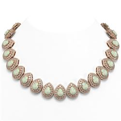100.62 ctw Certified Opal & Diamond Victorian Necklace 14K Rose Gold - REF-3303W3H