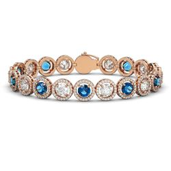 15.35 ctw Blue & Diamond Micro Pave Bracelet 18K Rose Gold - REF-2591G6W