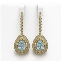 7.56 ctw Aquamarine & Diamond Victorian Earrings 14K Yellow Gold - REF-310Y4X