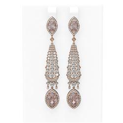 9.72 ctw Morganite & Diamond Earrings 18K Rose Gold - REF-527F3M
