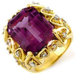 14.40 ctw Amethyst & Diamond Ring 10k Yellow Gold - REF-83M6G
