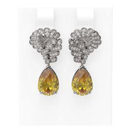 6.13 ctw Canary Citrine & Diamond Earrings 18K White Gold - REF-152Y2X