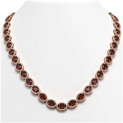 50.08 ctw Garnet & Diamond Micro Pave Halo Necklace 10k Rose Gold - REF-663M6G