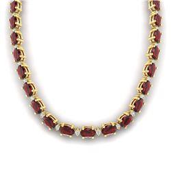 46.5 ctw Garnet & VS/SI Certified Diamond Eternity Necklace 10k Yellow Gold - REF-245X5A