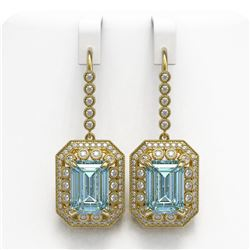 24.81 ctw Sky Topaz & Diamond Victorian Earrings 14K Yellow Gold - REF-365N5F