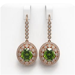 15.02 ctw Tourmaline & Diamond Victorian Earrings 14K Rose Gold - REF-401K6Y