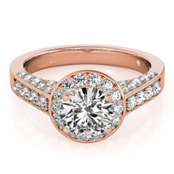 1.5 ctw Certified VS/SI Diamond Halo Ring 18k Rose Gold - REF-181W5H