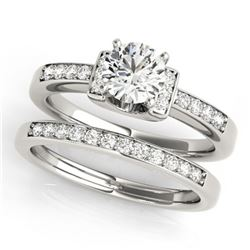 1.26 ctw Certified VS/SI Diamond Solitaire 2pc Set 14k White Gold - REF-286Y4X