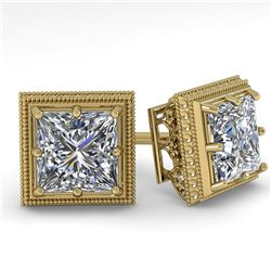 1.0 ctw VS/SI Princess Diamond Stud Earrings Art Deco 18k Yellow Gold - REF-170H9R