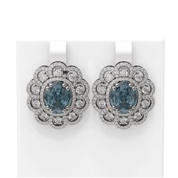11.21 ctw Blue Topaz & Diamond Earrings 18K White Gold - REF-340N5F