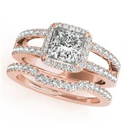 1.51 ctw Certified VS/SI Princess Diamond 2pc Set Halo 14k Rose Gold - REF-189Y4X