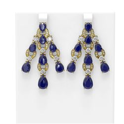27.46 ctw Sapphire & Diamond Earrings 18K Yellow Gold - REF-422A4N