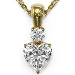 0.6 ctw Heart Diamond Designer Necklace 18K Yellow Gold - REF-118X5A