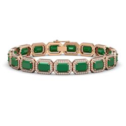 26.21 ctw Emerald & Diamond Micro Pave Halo Bracelet 10k Rose Gold - REF-436G4W