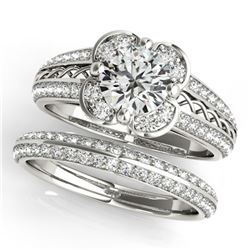 1.86 ctw Certified VS/SI Diamond 2pc Wedding Set Halo 14k White Gold - REF-314X5A