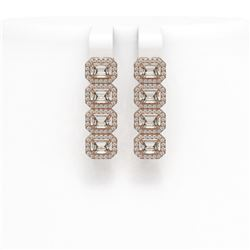 4.52 ctw Emerald Cut Diamond Micro Pave Earrings 18K Rose Gold - REF-534M2G